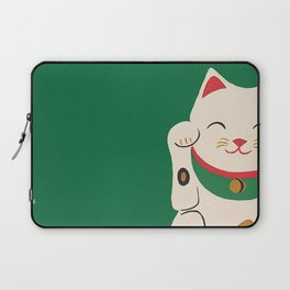 Green Lucky Cat Maneki Neko Laptop Sleeve