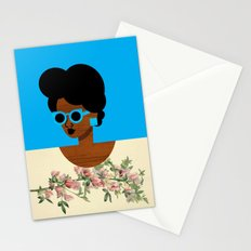 Postcard Woman Blue Stationery Cards