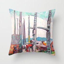 Emily Carr - Totem Poles, Kitseukla - Canada, Canadian Oil Painting - Group of Seven Throw Pillow