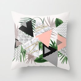 Abstract of geometric patterns with plants and marble Throw Pillow
