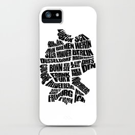 Germany Word Map - Black and White iPhone Case