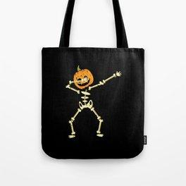 Halloween Costume dabbing skeleton with pumpkin Tote Bag
