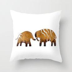 Gingerbread elephants Throw Pillow