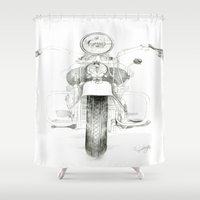 motorcycle Shower Curtains featuring Motorcycle 1 by ERTB