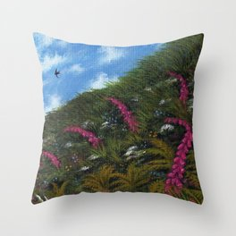Foxglove Hedgerow Throw Pillow