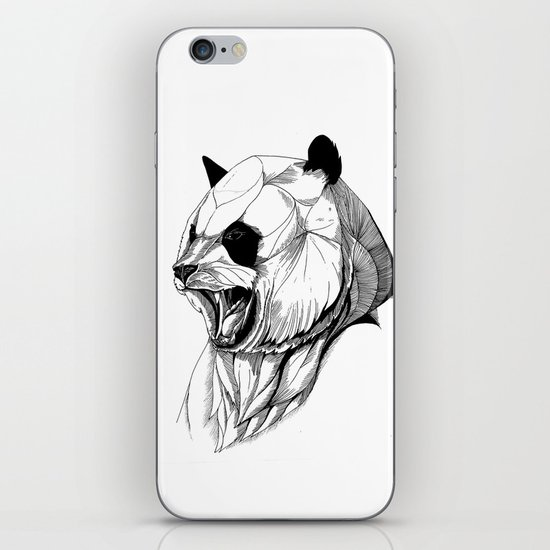 Angry panda (black stroke version for t-shirts) iPhone & iPod Skin