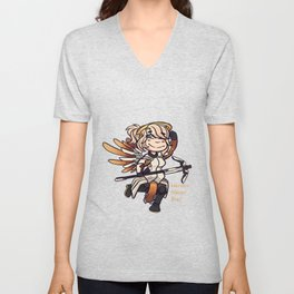 Mercy: Heroes Never Die! (With Text) Unisex V-Neck