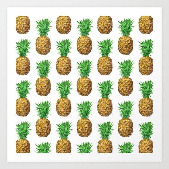 Pineapples, tropical fruit pattern design Art Print