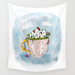 Pink Cup island Wall Tapestry