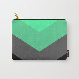 Mint Green Gray Chevron Stripes Carry-All Pouch