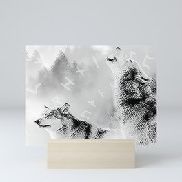 Two Wolves Mini Art Print