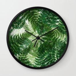 green big jungle leaves Wall Clock