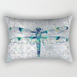 Gemstone Dragonfly on sacred geometry pattern Rectangular Pillow