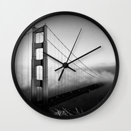 Golden Gate Bridge | Black and White San Francisco Landmark Photography Shot From Marin Headlands Wall Clock