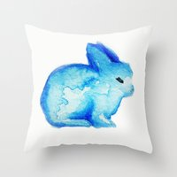 rabbit Throw Pillows featuring rabbit by carrie booth