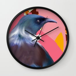 Tui with Retro floral wallpaper Wall Clock