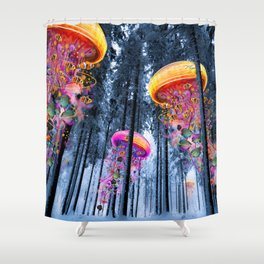 Winter Forest of Electric Jellyfish Worlds Shower Curtain