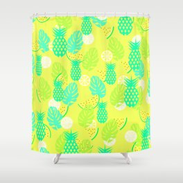 Watermelons and pineapples in yellow Shower Curtain