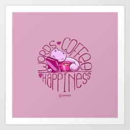 Scribbles: Words. Coffee. Happiness. Art Print