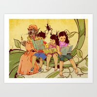 fairy tale Art Prints featuring Fairy Tale by Radical Ink by JP Valderrama