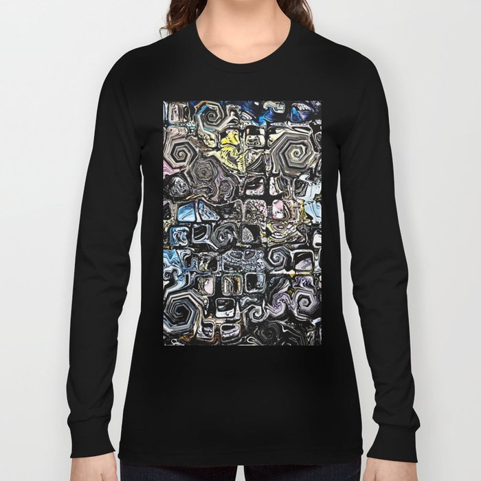 Distorted Shapes And Text Long Sleeve T-shirt