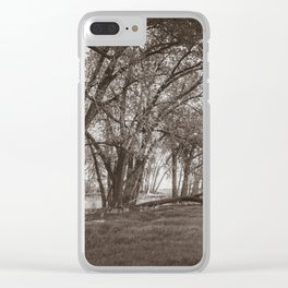 Cottonwoods at Lee's Farm, Sepia Clear iPhone Case