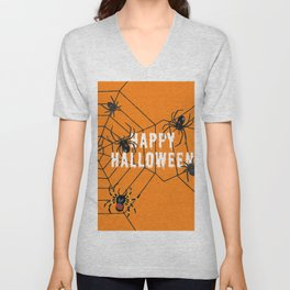 Happy Halloween Spider orange Unisex V-Neck