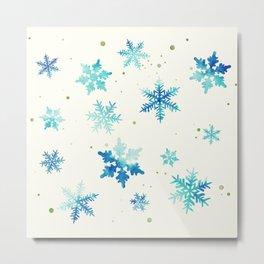 ICY BLUE SNOWFLAKE PATTERN Metal Print
