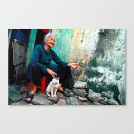 Vietnamese Woman with White Cat Canvas Print