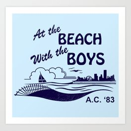 At the Beach with the Boys Art Print