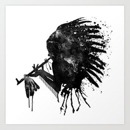 Indian with Headdress Black and White Silhouette Art Print