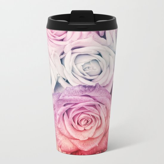 Some people grumble II  Floral rose flowers pink and multicolor Metal Travel Mug