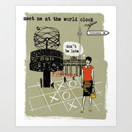 Meet me at the World Clock Art Print