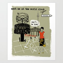 Meet me at the World Clock Art Print