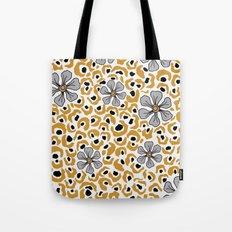 Golden animal print floral Tote Bag