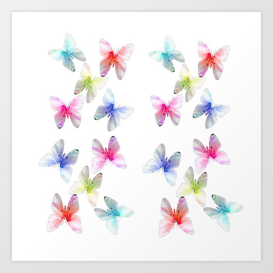 Colorful flowering butterflies. Floral photo art. Art Print