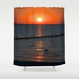 Holy sunset on the Baltic Sea Shower Curtain