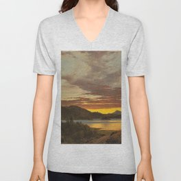Maine Sunset by Frederic Edwin Church Unisex V-Neck