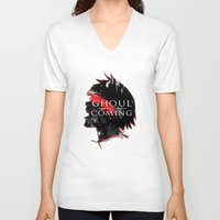 tokyo ghoul V-neck T-shirts featuring GHOUL IS COMING by 666HUGHES