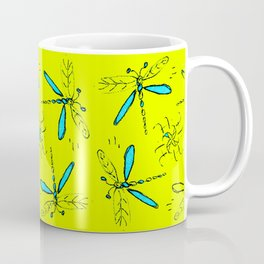 Turquoise Dragonflys On Yellow Back Coffee Mug