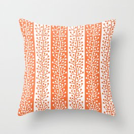 Mid Century Modern Berry Vine Stripes Orange Throw Pillow