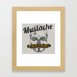Mustache Skull Framed Art Print