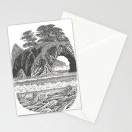 SEASIDE ARCH, BISHOP PINE, AND DRIFTWOOD VINTAGE PEN DRAWING Stationery Cards