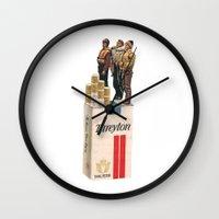 onward Wall Clocks featuring Onward and Upward by Jordan Clark