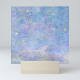 many digital butterflies with colorful clouds against blue with water droplets Mini Art Print