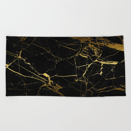back & gold marble Beach Towel