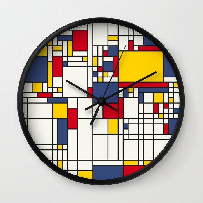 World map abstract mondrian style wall clock by artpause society6 gumiabroncs Choice Image