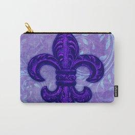 Purple Fleur de Lis Carry-All Pouch