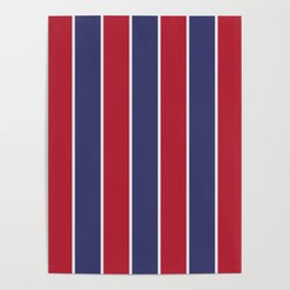 Large Red White and Blue USA Memorial Day Holiday Vertical Cabana Stripes Poster