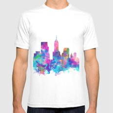 indianapolis city skyline watercolor 4 Mens Fitted Tee MEDIUM White